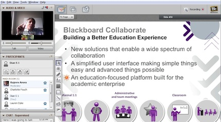 Blackboard Collaborate 11 automatically switches the current speaker to the larger window.