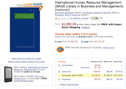 International Human Resource Management, whose hardcover edition retails for $1,050, sells for $47.96 as a Kindle e-book and rents for as little as $11 for 30 days, about $16 for 90 days, and about $21 for 180 days. The price for 360 days is $26.22.