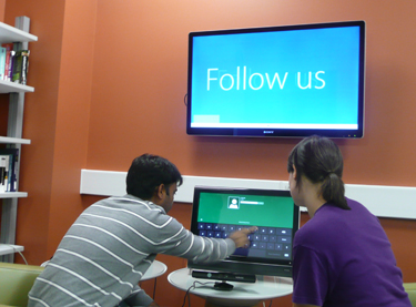 Students explore the Windows 8 touch interface.
