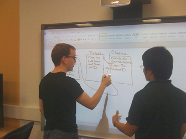 Students work together to design a database using the Smart Board in the CIS Sandbox.