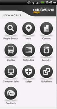 The University of Wisconsin-Milwaukee mobile app on Android