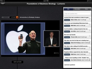Pictured the Udemy iPad interface