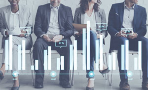 group of business people with data chart superimposed