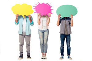 students holding thought bubbles