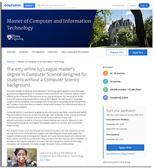 online Master of Computer and Information Technology on Coursera