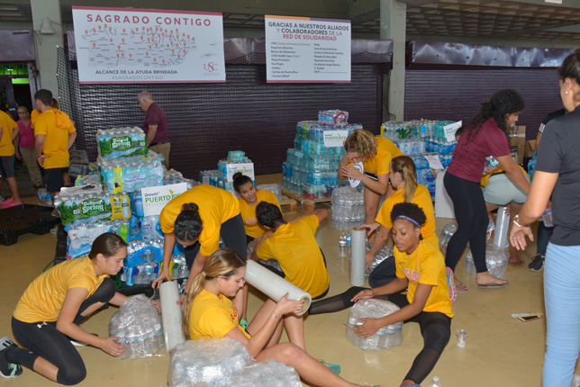 Student volunteers helped prepare relief supplies for pick-up by community organizations.