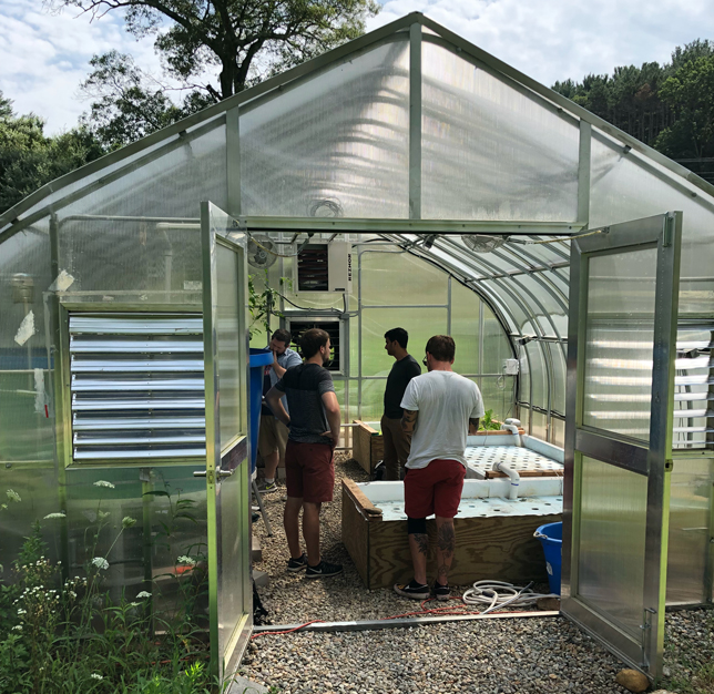U Conn's aquaponics greenhouse