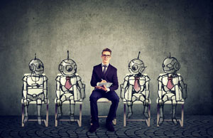 Business job applicant competing with artificial intelligence