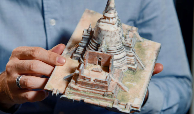 A 3D printed model of Ayutthaya temple in Thailand