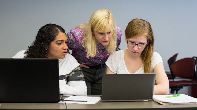 Computer science students at Bay Path University