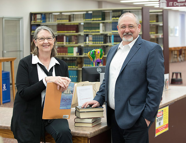 Centenary College's Christy Wrenn, director of library services, and Scott Merritt, director of IT