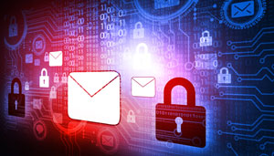 data security illustration with email and padlock symbols