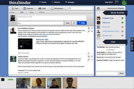 ThinkBinder is designed to encourage collaboration through shared notes and resources, text and video chat, whiteboards, calendars, and files.