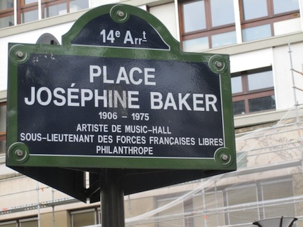 original Josephine Baker place sign in Paris