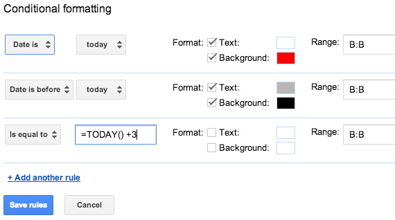 Google sheets conditional formatting date options