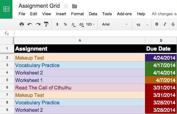 google sheets example 5