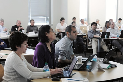 Participants in the I-Corps Node attend training sessions intended to help them move their academic research into the commercial world.