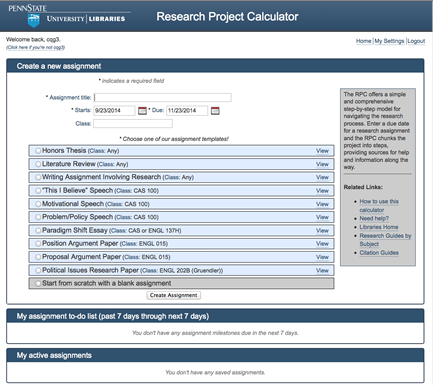 Penn State's research project calculator breaks projects into steps and sources for information and help throughout the project.