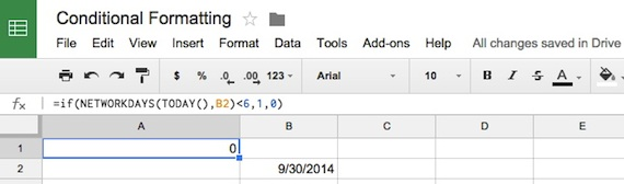 conditional formating in Google Sheets