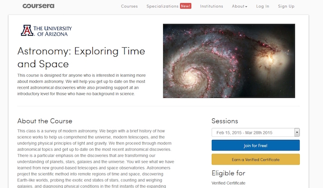 University of Arizona astronomy course on Coursera