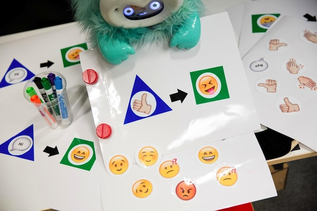 Dragonbot's programming interface uses a set of reusable vinyl stickers that represent triggers and events.