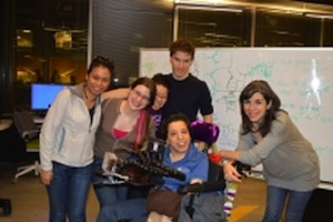 The winning team in the MIT assistive technologies hackathon built a battery-powered Bluetooth joystick and mouse that a person could control by inhaling and exhaling. Image courtesy of MIT.