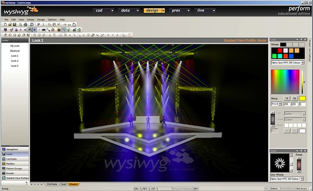 wysiwyg allows users to design, pre-cue and play back lighting sequences; show a 3D simulation of their lighting ideas; and produce lighting plots and reports with fixture schedules and other details.