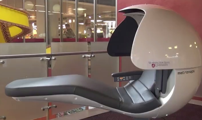 Washington State University's Chinook Student Center will feature as many as 10 or 15 pods, self-contained units that give students privacy while they take timed power naps to ambient music. When their time is up, the pod vibrates them awake.