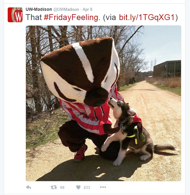 On Twitter, U Wisconsin-Madison came in first overall and generated the highest number of retweets and favorites per 1,000 fans.