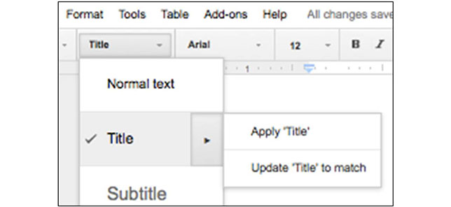 Google Docs - Heading style options/ Update heading...to match