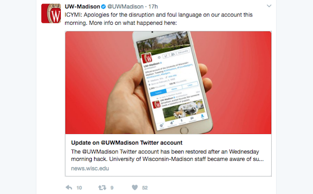 the university of wisconsin madison uw m yesterday morning had its twitter account uwmadison hacked by an unauthorized user the account which has - Account Technology