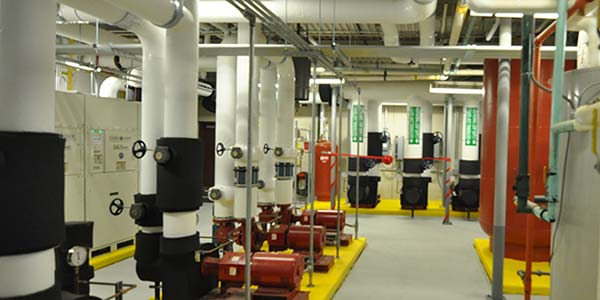 A long view of the geothermal room in Monroe County Community College