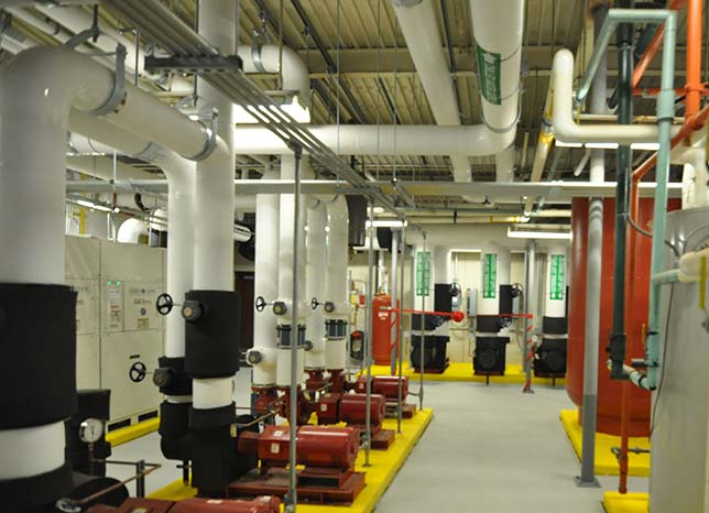 A long view of the geothermal room in Monroe County Community College's Audrey M. Warrick Student Services/Administration Building. Source: Monroe County Community College.