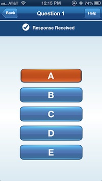 i>clicker GO multiple choice screen on iOS