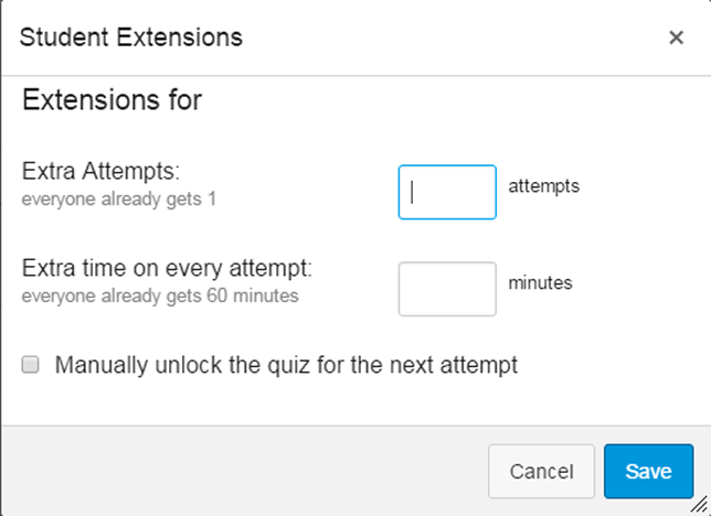 Within Canvas, set the amount of extra time the student is allowed.
