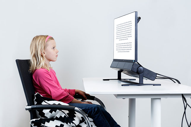 Tobii Pro Spectrum can capture eye movements such as saccades, correction saccades, fixations and pupil size changes, at an adjustable rate between 60 Hz and 600 Hz.