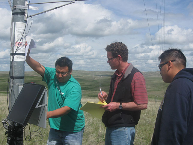 Undergraduates Lester Richard, left, and Shane Herrod, right, work with meteorological instruments, under the guidance of Damon Fick, center, a former assistant professor of civil and environmental engineering at the South Dakota School of Mines and Technology, as part of a wind energy project in May 2011. Both PEEC students began their education at Oglala Lakota College and then transferred to the South Dakota School of Mines. Herrod is now a structural engineer in Texas. (Photo courtesy of Damon Fick)